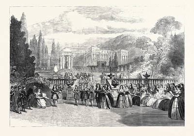 Garden Scene Drawing - Scene From The New Opera Loves Triumph At Covent Garden 1862 by English School