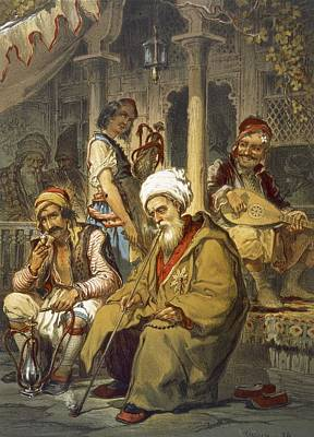 Turkey Drawing - Scene In A Cafe, 1865 by Amadeo Preziosi