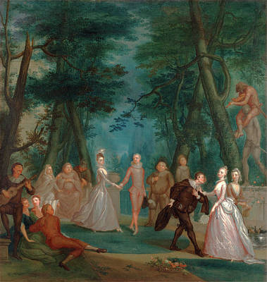 Park Scene Painting - Scene In A Park, With Figures From The Commedia Dellarte by Litz Collection