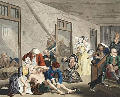 Interior Scene Drawing - Scene In Bedlam, Plate Viii, From A by William Hogarth