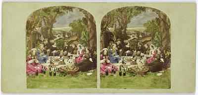 Garden Scene Drawing - Scene In Garden Company During Picnic, Anonymous by Artokoloro