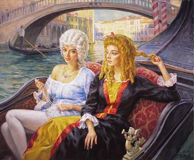 Scene In Gondola. Venice. Art Print
