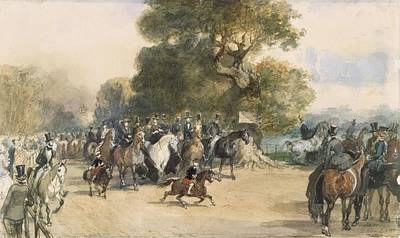 London Drawing - Scene In Hyde Park by Eugene-Louis Lami