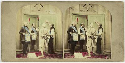 Scene In Interior Three Freemasons And Bound Man Art Print