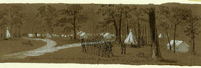 Chinese American Drawing - Scene In The Camp Of The Washington Greys. 8th N.y.s by Quint Lox