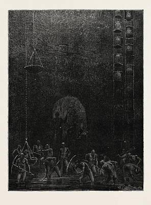 Scene In The Diamond Mines Of Poonah Art Print by English School