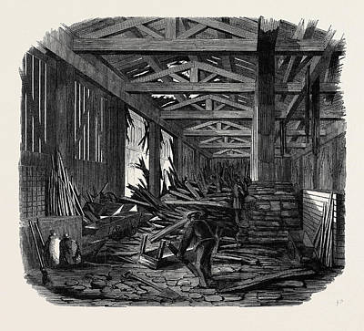 Chatham Drawing - Scene Of The Recent Explosion At The Royal Engineer by English School