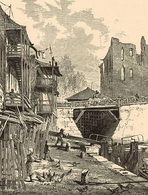 White River Scene Drawing - Scene On The Canal 1872 Engraving by Antique Engravings
