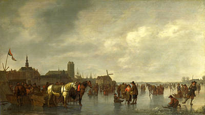 Scene On The Ice Outside Dordrecht Print by Abraham van Calraet