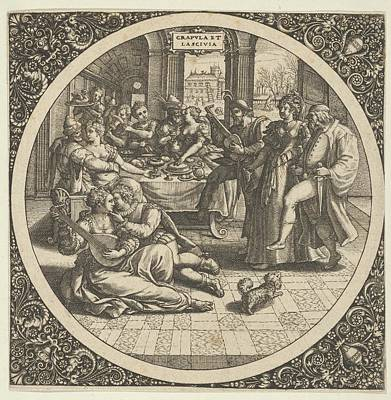 Theodor De Bry Drawing - Scene With Galants At A Banquet by Theodor de Bry