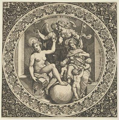 Theodor De Bry Drawing - Scene With Misericordia And Veritas by Theodor de Bry