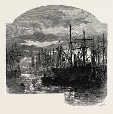 Collier Drawing - Scenery Of The Thames In The Pool, Colliers Unloading, Uk by English School