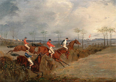Hurdle Painting - Scenes From A Steeplechase Another Hedge A Steeplechase by Litz Collection
