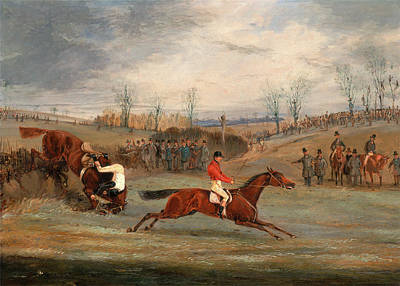 Hurdle Painting - Scenes From A Steeplechase Near The Finish A Steeplechase by Litz Collection