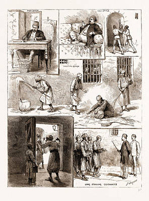 Scenes From The Egyptian Prisons, Cairo, 1883 Sweeping Art Print by Litz Collection