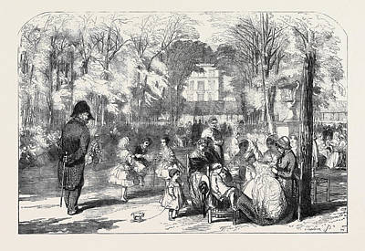 Garden Scene Drawing - Scenes In Paris The Gardens Of The Tuileries by English School