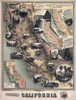 Old Map Photograph - Scenes Of California 1888 by Daniel Hagerman