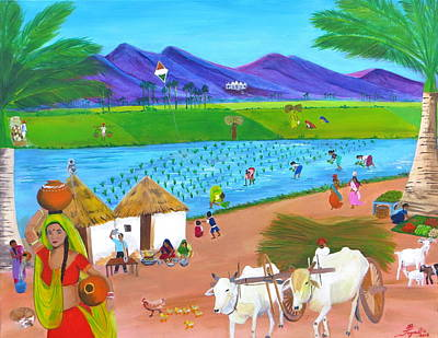 Bullock-cart Painting - Scenes Of India by Artistic Indian Nurse