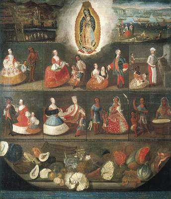 Scenes Of Mestizaje. Circa 1750. Casta Art Print by Everett