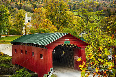 Scenic Covered Bridge Of West Arlington Art Print by George Oze