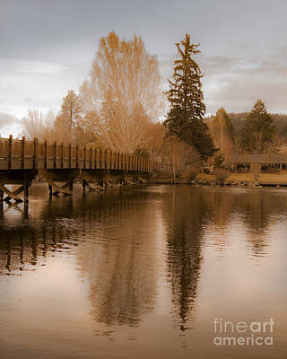 Photograph - Scenic Golden Wooden Bridge Tree Reflection On The Deschutes River by Jerry Cowart