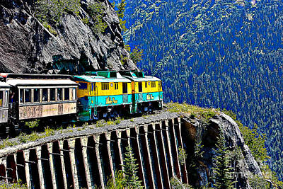 Skagway Photograph - Scenic Train Cartoon by Sophie Vigneault