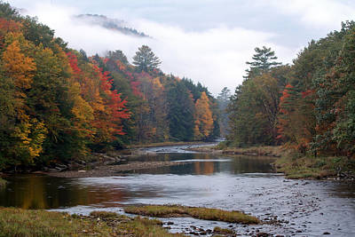Vermont Photograph - Scenic Vermont River And Autumn Landscape by Juergen Roth