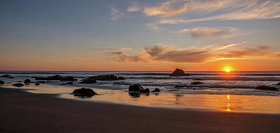 San Simeon Photograph - Scenic View Of Beach At Sunset, San by Panoramic Images