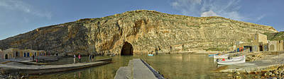 Scenic View Of Cave, Inland Sea, Dwejra Art Print by Panoramic Images