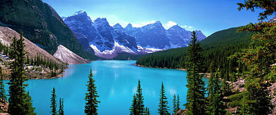 Moraine Lake Photograph - Scenic View Of Moraine Lake by Panoramic Images