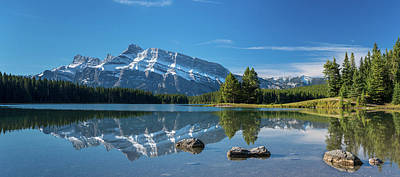 Scenic View Of Mount Rundle Reflected Art Print