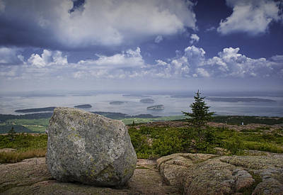 Cadilac Photograph - Scenic View With Boulder On Top Of Cadilac Mountain by Randall Nyhof