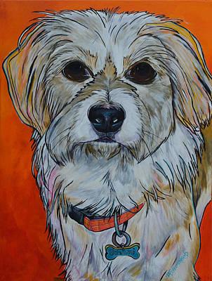 White Dog Painting - Schatzi by Patti Schermerhorn