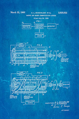Schawlow Laser Patent Art 1960 Blueprint Art Print by Ian Monk