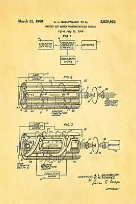 Schawlow Laser Patent Art 1960 Art Print by Ian Monk