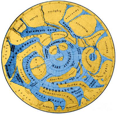 Schiaparelli Mars Map 1877-78 Art Print by Science Source