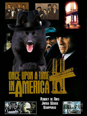 Schipperke Painting - Schipperke Art Canvas Print - Once Upon A Time In America Movie Poster by Sandra Sij