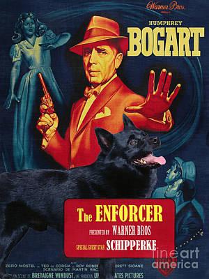 Schipperke Art Canvas Print - The Enforcer Movie Poster Art Print by Sandra Sij
