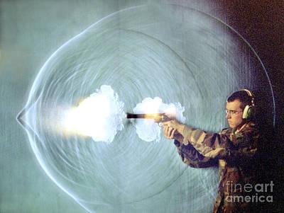 Schlieren Photo Of Gun Firing Art Print by Gary S. Settles