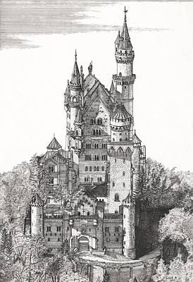 Castle Drawing - Schloss Neuschwanstein  by John Simlett