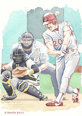 Philadelphia Phillies Painting - Schmidty's 500th by Kenny Phifer