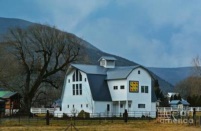 Block Quilts Photograph - Schnase Farm Quilt Barn by Lisa  Telquist