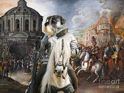 Schnauzer Painting - Schnauzer Art - A Siege The Sack Of Rome   by Sandra Sij