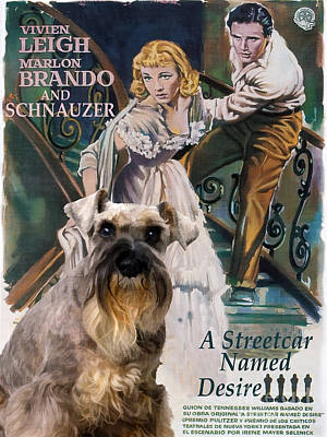 Schnauzer Art Painting - Schnauzer Art Canvas Print - A Streetcar Named Desire Movie Poster by Sandra Sij