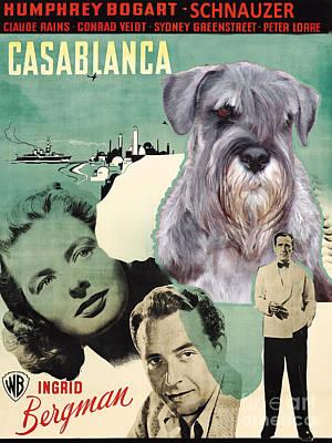 Casablanca Painting - Schnauzer Art Canvas Print - Casablanca Movie Poster by Sandra Sij
