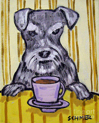 Painting - Schnauzer At The Coffee Shop by Jay  Schmetz