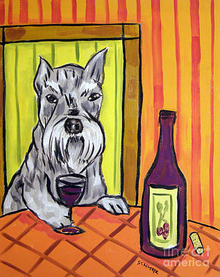 Schnauzer At The Wine Bar Art Print by Jay  Schmetz