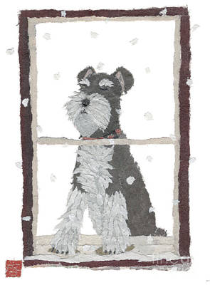 Schnauzer Art Hand-torn Newspaper Collage Art Art Print by Keiko Suzuki Bless Hue