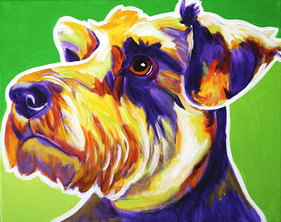 Dawgart Painting - Schnauzer - Elroy by Alicia VanNoy Call