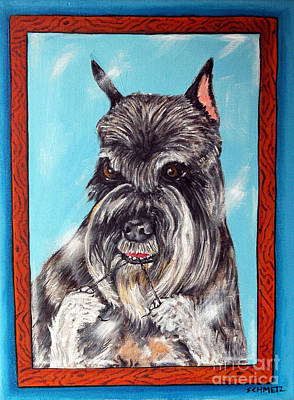 Painting - Schnauzer Flossing by Jay  Schmetz